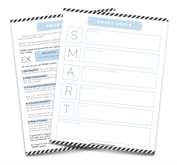How to Reduce Stress by Setting Smart Goals - Smart Goals Worksheet Printable - Brave Little Mom - Blog for Moms